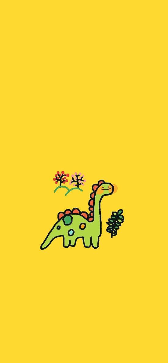 插画 恐龙 可爱 黄