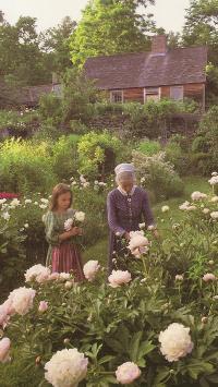 油画 像素画 花园 欧美 小女孩 鲜花