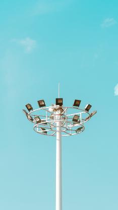 蓝天 照明 路灯 聚光灯