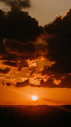 落日 夕阳 唯美 云空