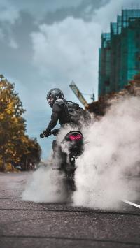 机车 摩托车 骑行 竞速 烟雾