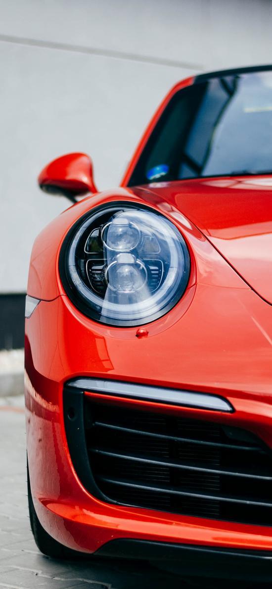 汽车 跑车 大车灯 红色
