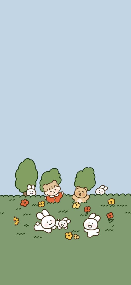 卡通 插图 小女孩 小白兔