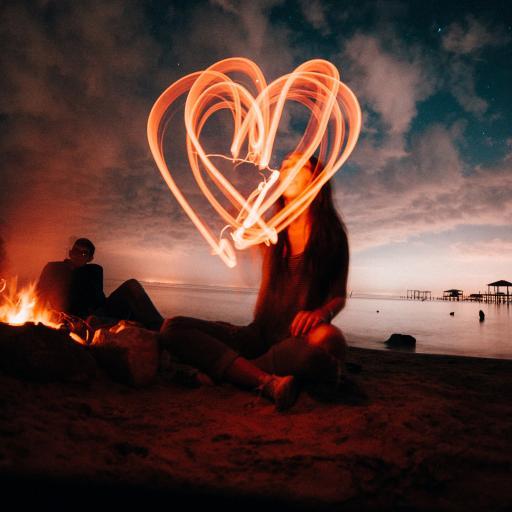爱情 烟花 烟火 爱心 夜晚