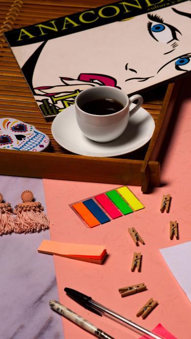 静物 饮品 卡纸 夹子