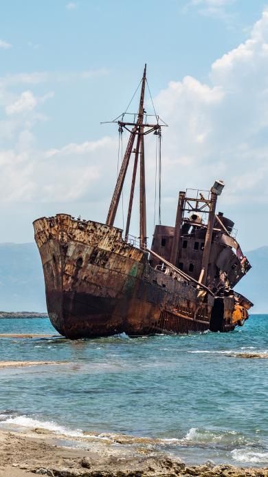 大海 船只 废弃 生锈 漂浮