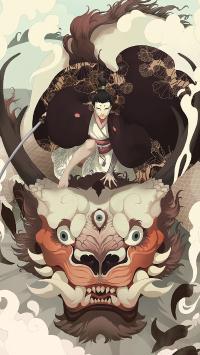 浮世绘 日本 绘画 怪物 和服