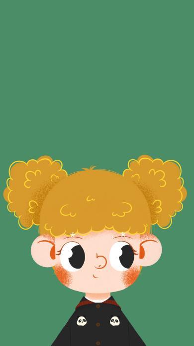 女孩 插画 黄头发 可爱