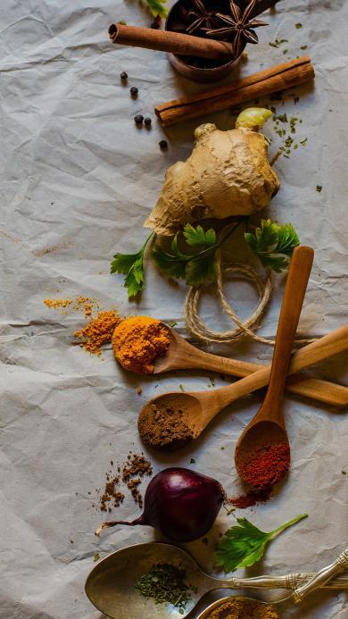 食材 木勺 调味品 粉末 生姜 洋葱 辣椒粉