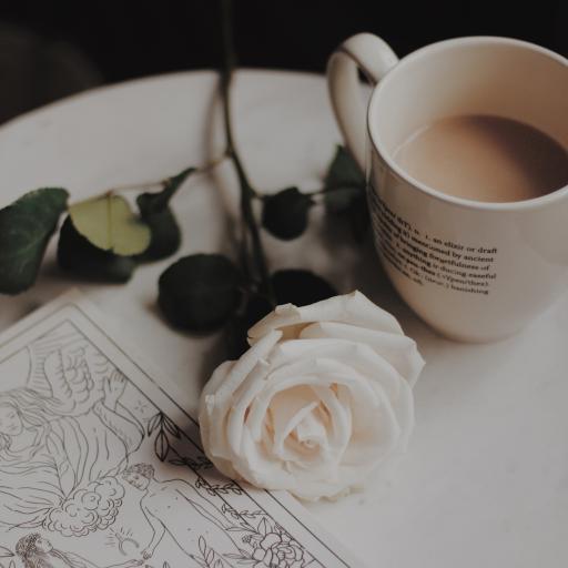 静物 玫瑰花 咖啡 插图
