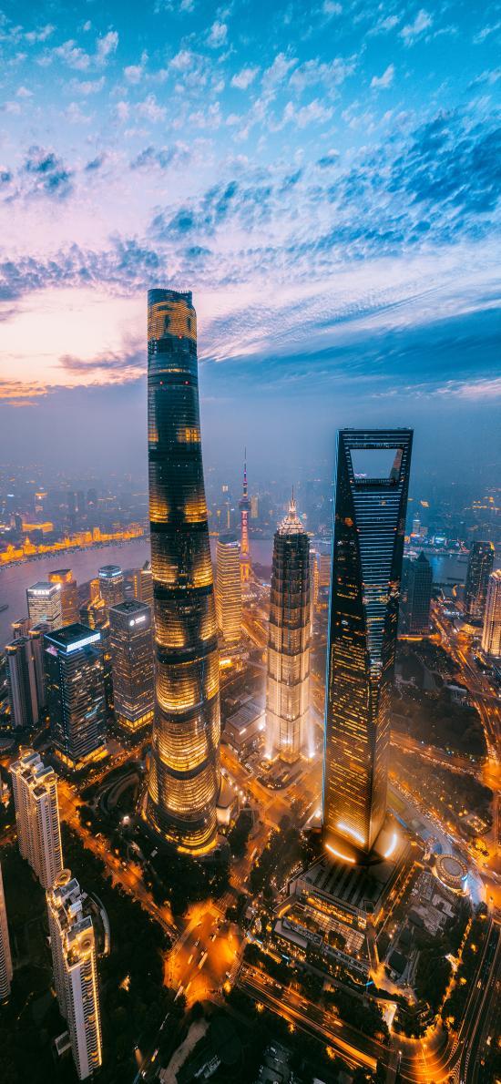 城市 夜景 上海 天空 灯光  高楼大厦