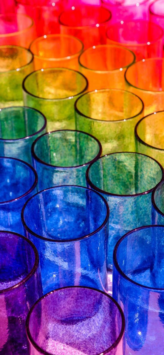 容器 杯子 玻璃 色彩 彩虹配色