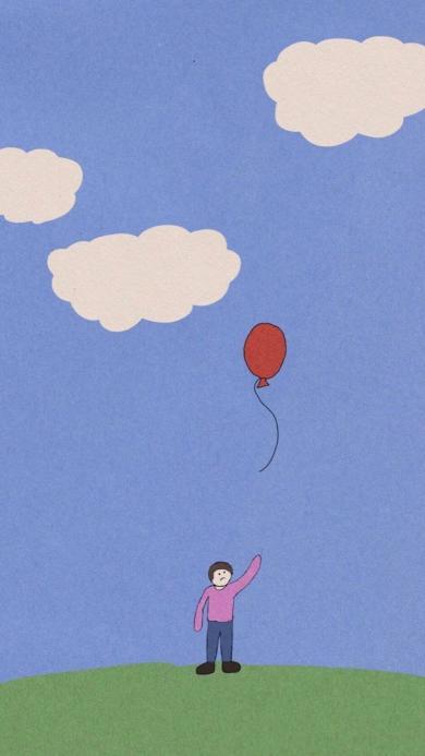 插画 蓝天白云 小人 气球