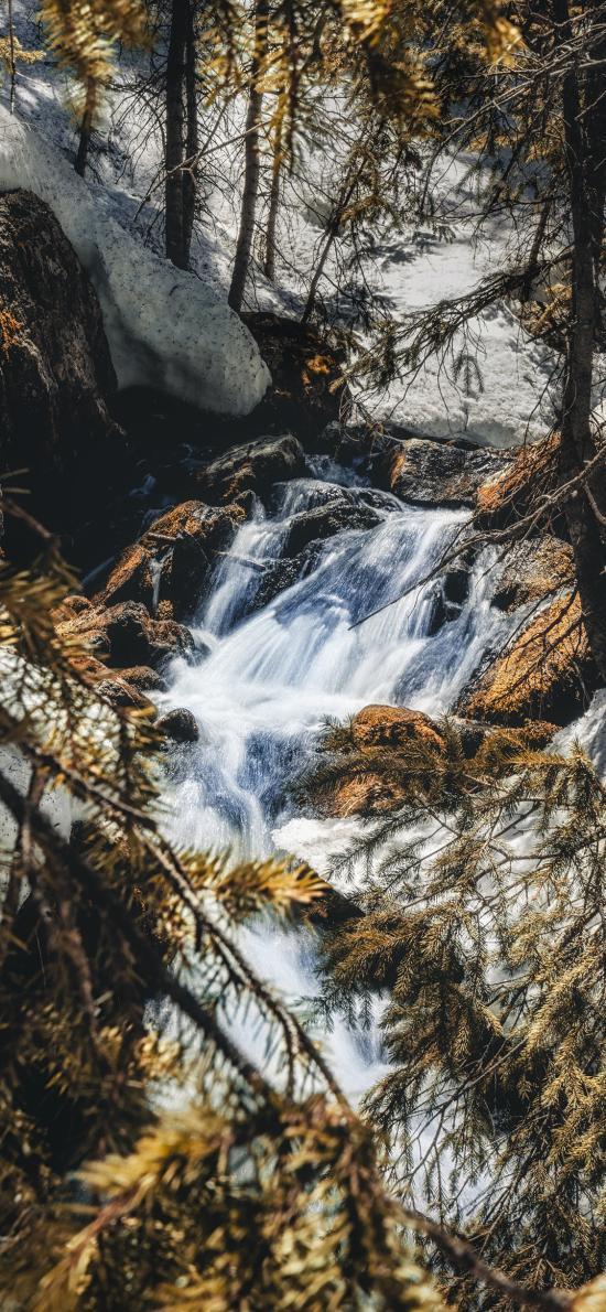 大山 河流 树木 流水 自然美景