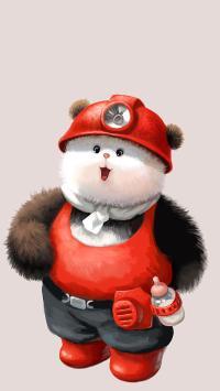 熊猫 矿工 绘画 插画 奶瓶 可爱