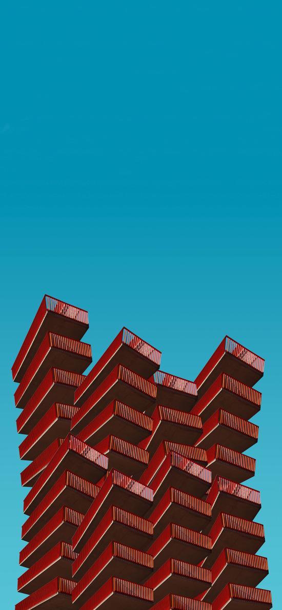 建筑 高楼 设计 红色