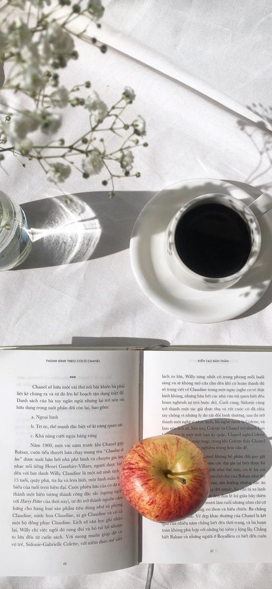 书籍 苹果 咖啡 干花