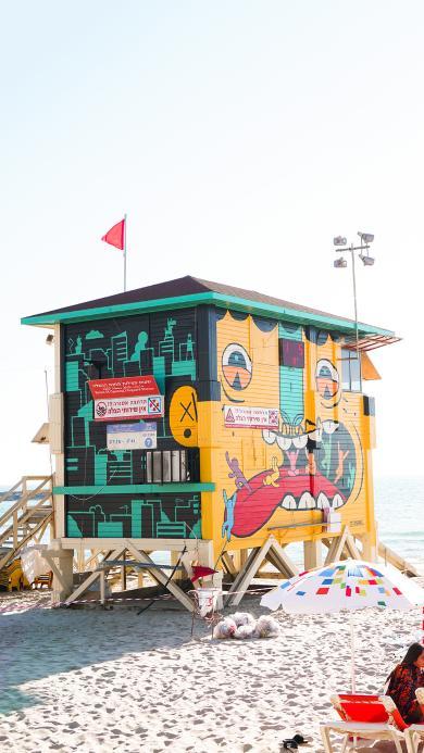 海滩 建筑 涂鸦 色彩 休闲 度假