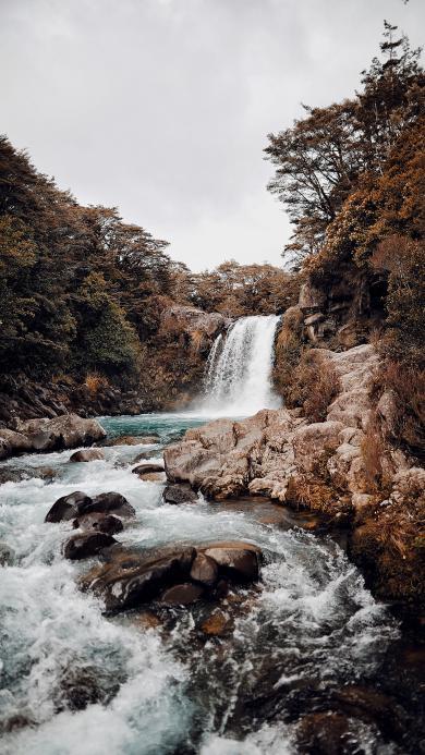 流水 瀑布 岩石 河流