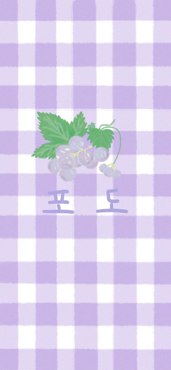 插画 格子 葡萄 紫色