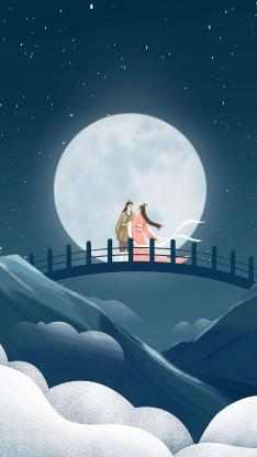 七夕 牛郎织女 插画 月亮