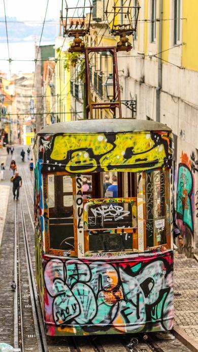 电轨车 交通工具 涂鸦 街头 艺术