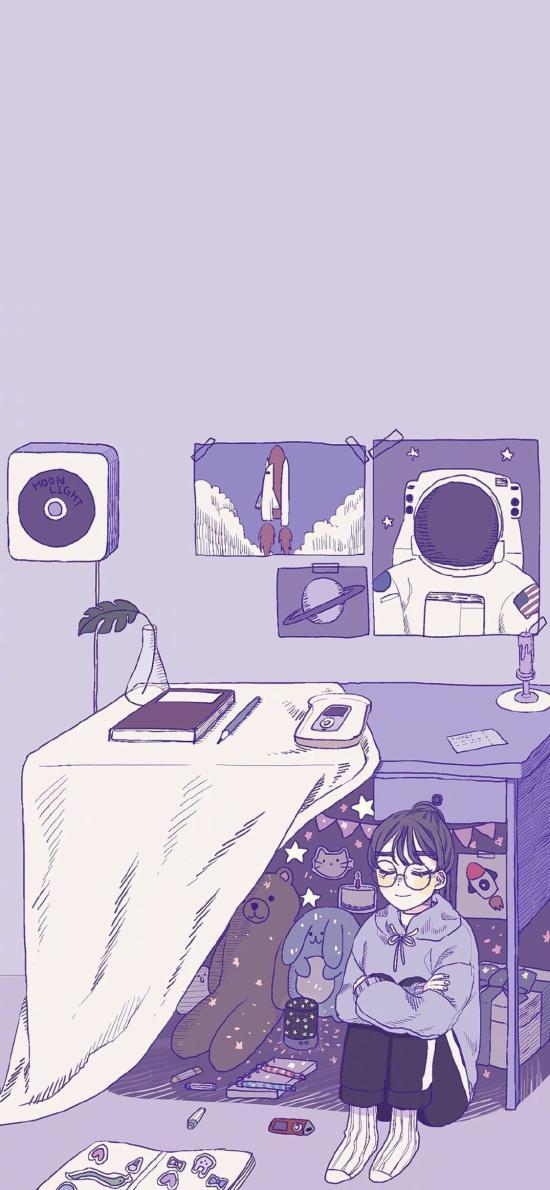 女孩 插画 房间 紫色