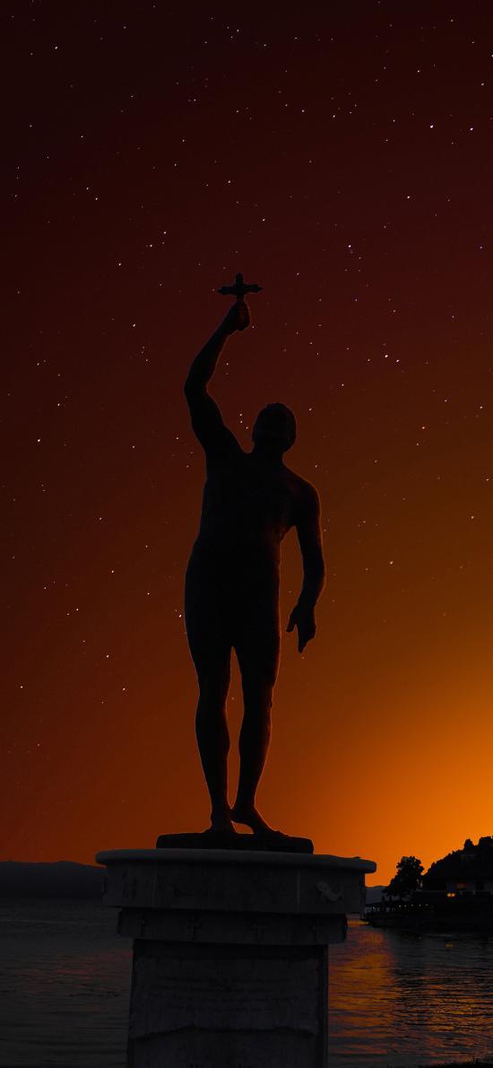 傍晚 石像 十字架 星空