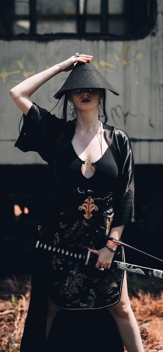 女孩 剑客 日式 写真
