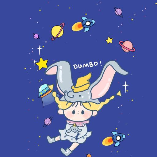 卡通 小飞象 女孩 宇宙 行星