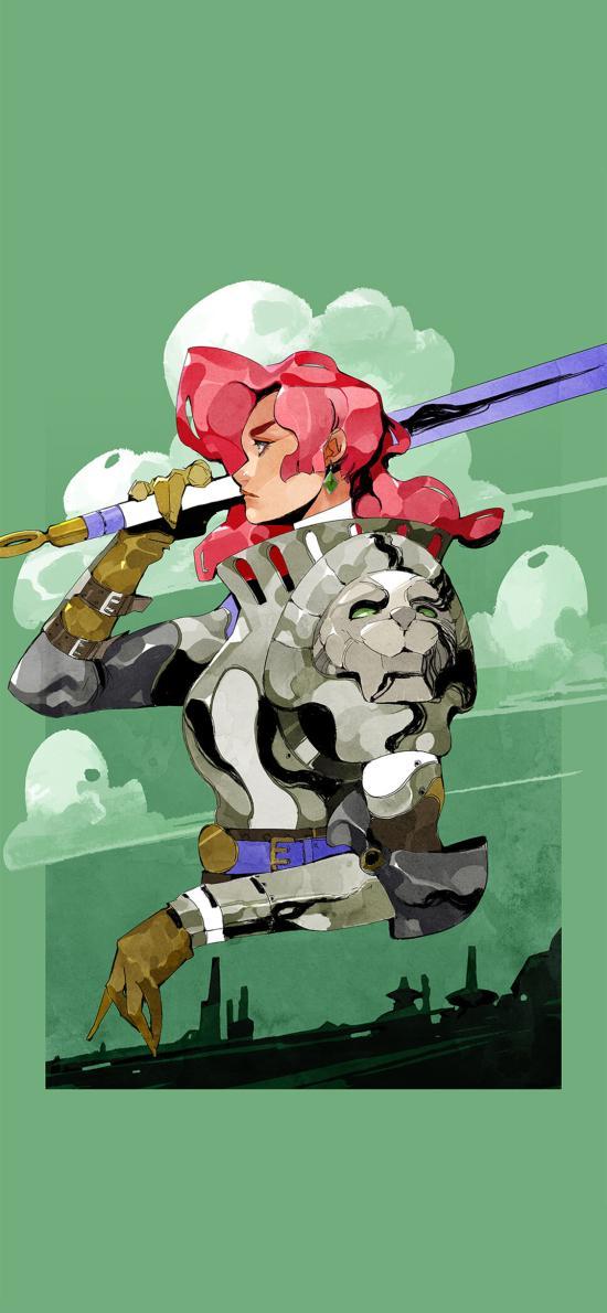游戏 插画 色彩 侧面 女战士
