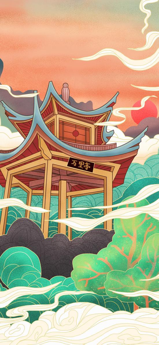 国风 亭台 建筑 插画 艺术