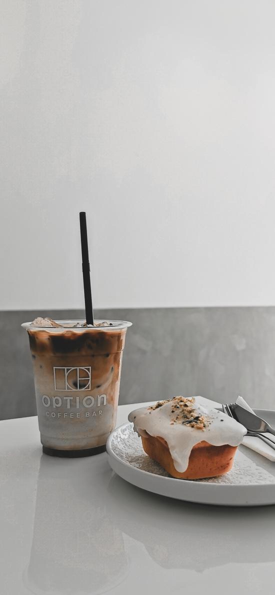 咖啡 甜品 餐具 奶油