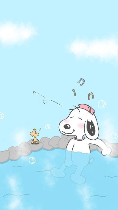 史努比 泳池 动画 泡澡