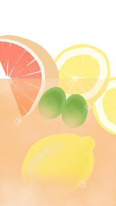 绘画 汽水 柠檬 西柚