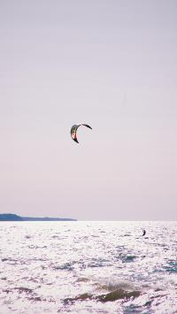 大海 海平面 竞技 滑伞