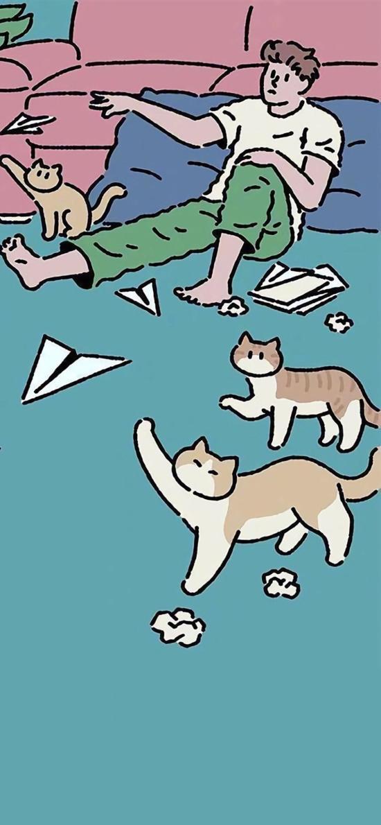 手绘插画 猫咪 男孩 纸飞机
