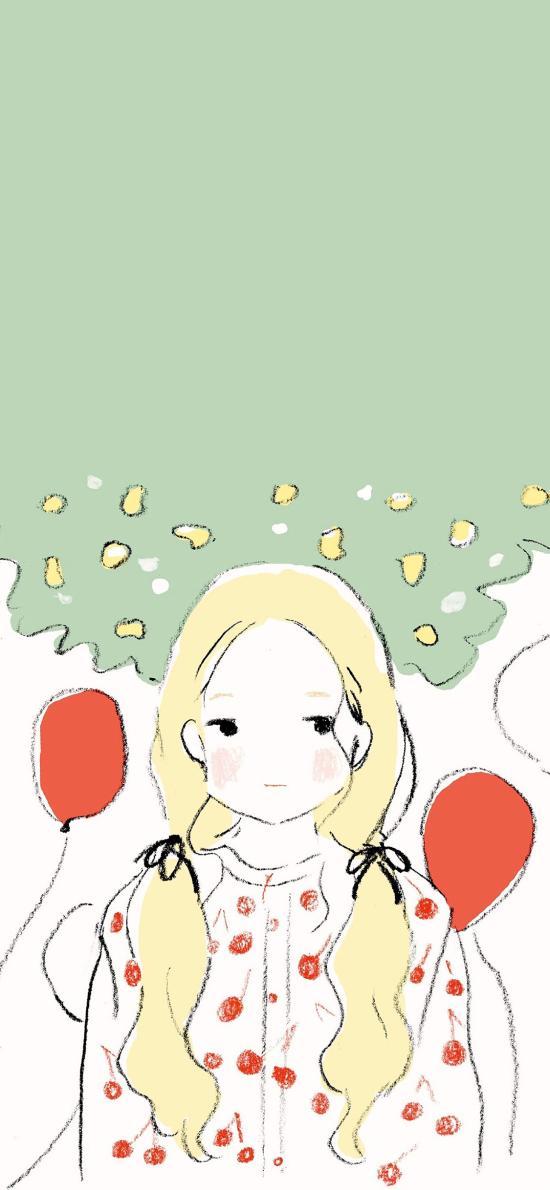 女孩 插画 双马尾 气球 红色插画师:252percent 4