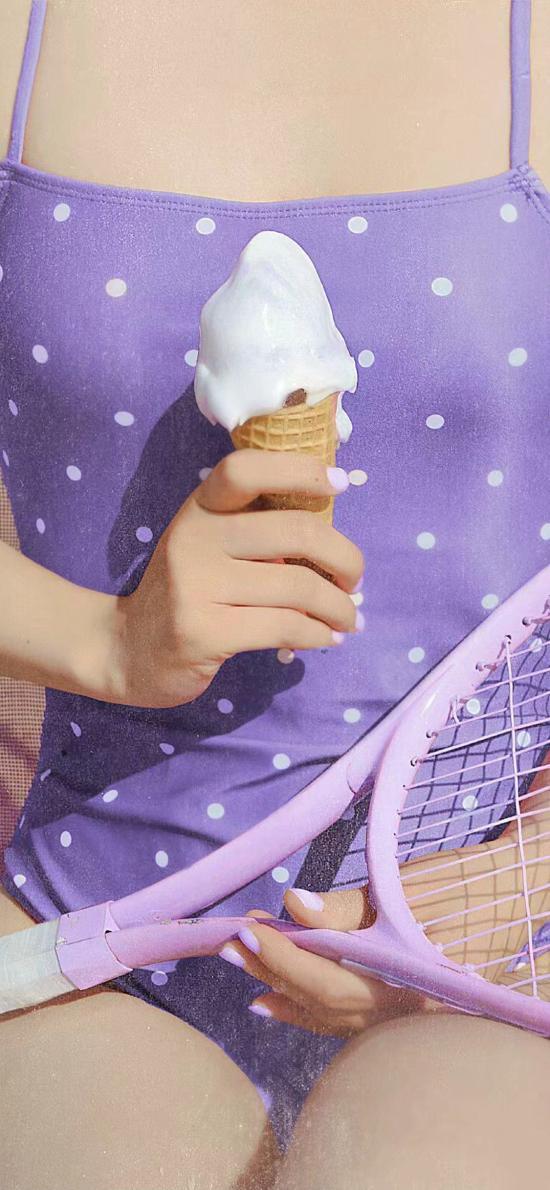 零食 冰淇淋 网球拍 吊带 紫色