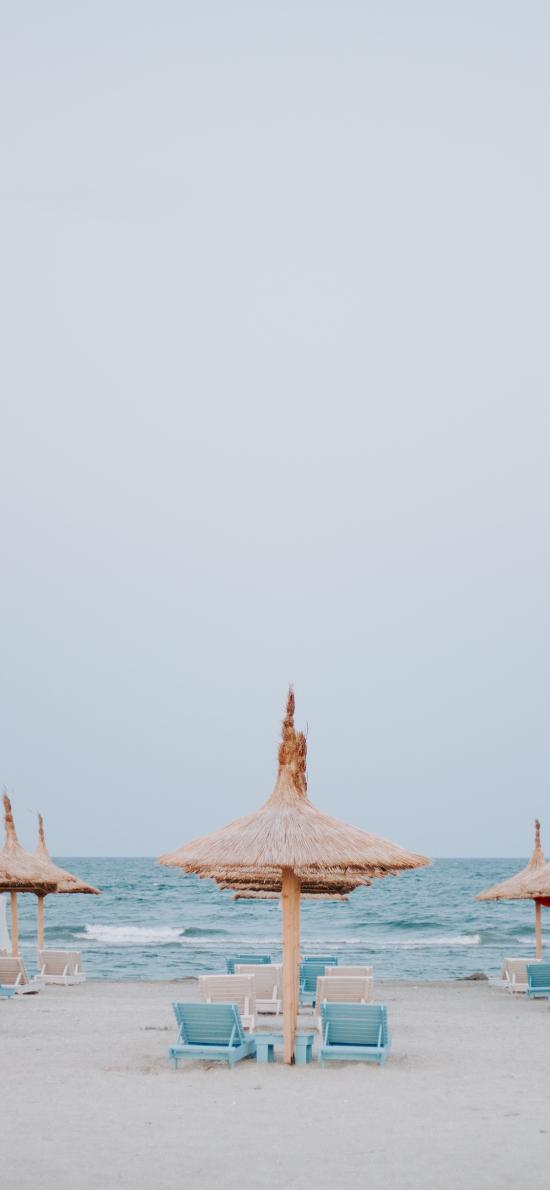 海边 遮阳伞 度假 沙滩椅