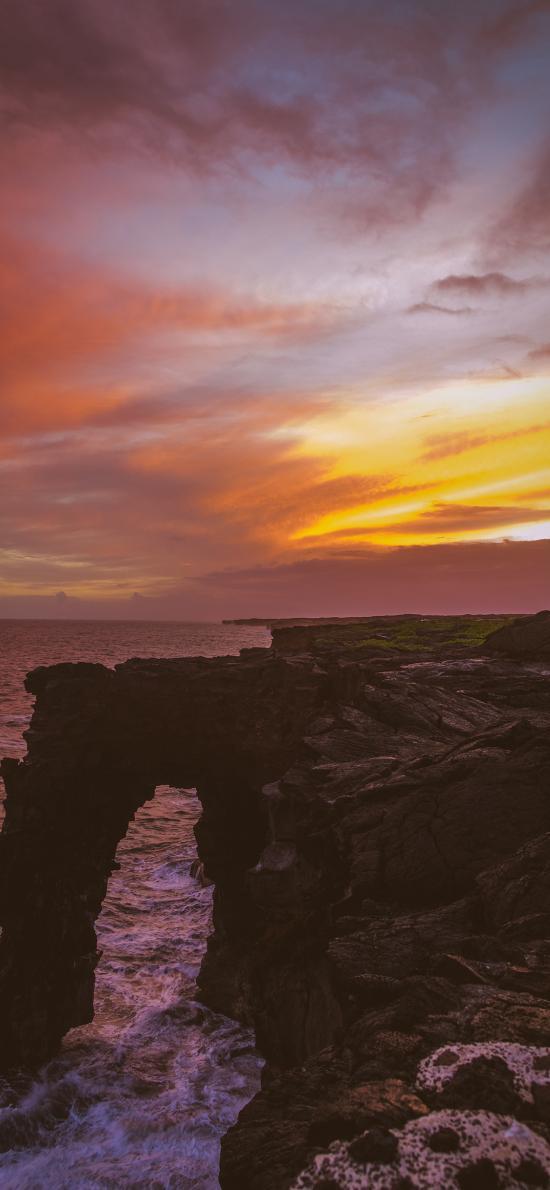 海岸 夕陽 彩霞 海浪