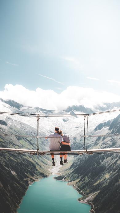 自然景区 郊外美景 桥 情侣背影