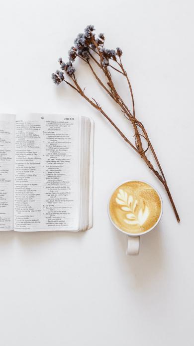 静物 书籍 咖啡 干花