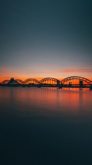 夕阳 黄昏 桥梁 海平面