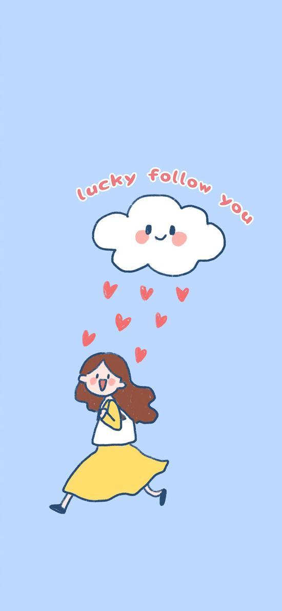 插画 lucky follow you 趣味