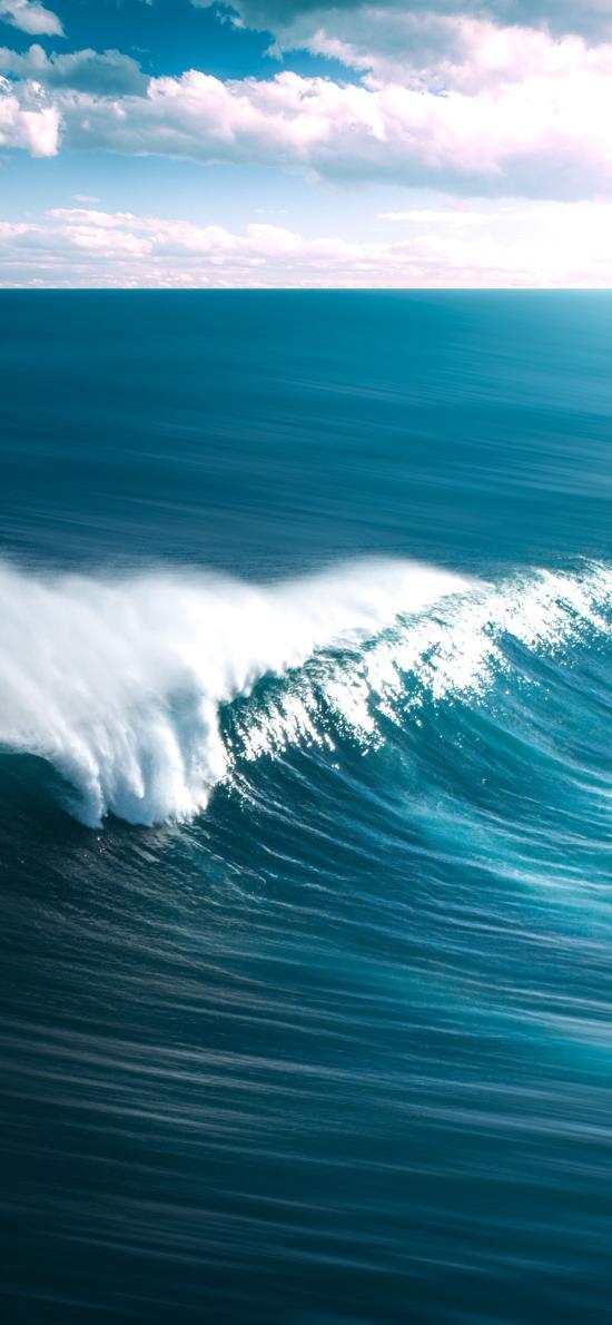 海浪 大海 浪花  蓝天