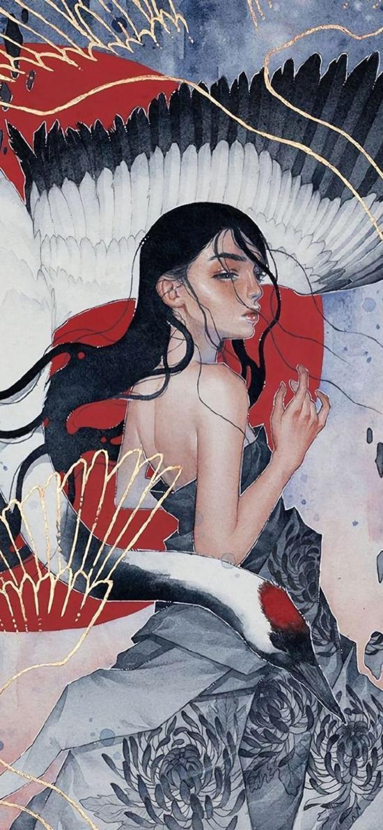 女孩 和风 插画 仙鹤