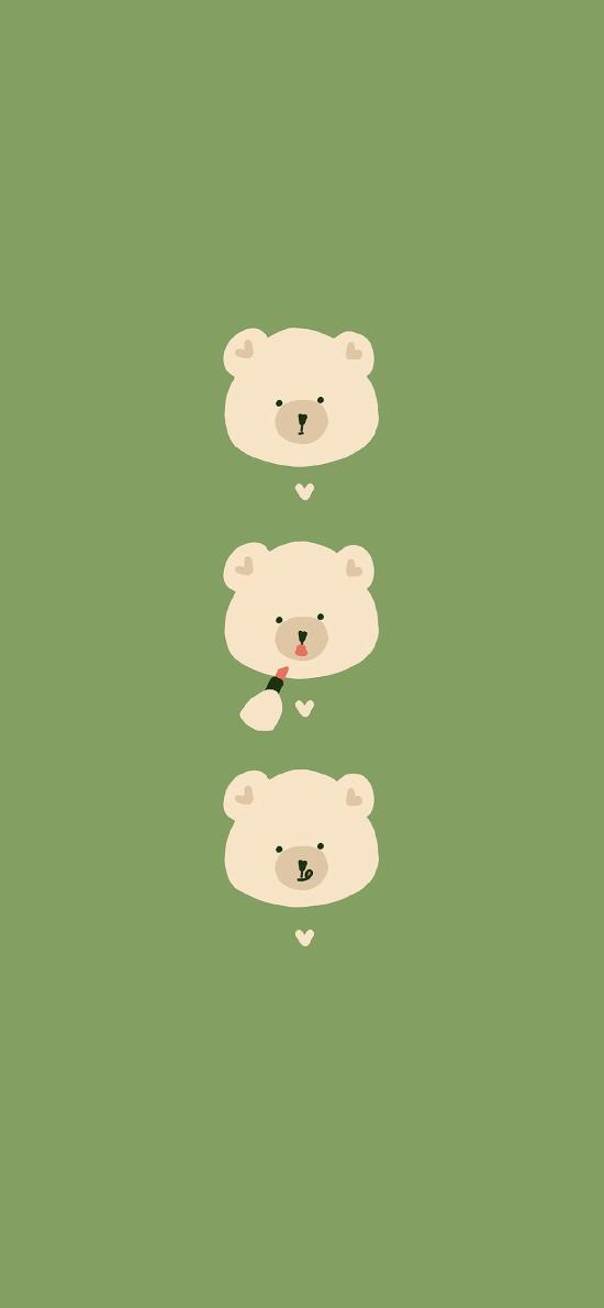 小熊 可爱 卡通 绿