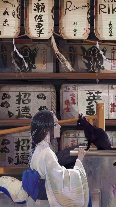 和风 插图 二次元 女孩 黑猫