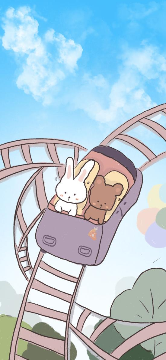 插图 小兔 小熊 游乐园 过山车(取自微博:Rabit T tuo)